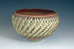 Textured decorative bowl steves tool vase pot jar by ClaybyMJ,