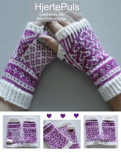 Beas Strikke Design - Lilly is Love Fingerless Gloves Knitted, Knit Mittens, Crochet Pattern, Free Pattern, Knitting Patterns, Drops Design, Maid Marian, Drops Baby, Fair Isle Knitting