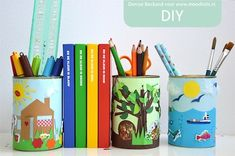 Decorated Tin Can Desk Organizers - The Crafty Crow