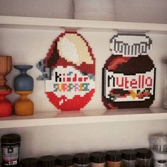 Kinder egg and Nutella jar hama beads by mo_iica