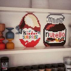 Kinder egg and Nutella jar hama beads by mo_iica