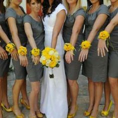 Grey Bridesmaid Dresses and yellow flowers!