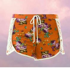 LAST ONE floral shorts SMALL Perfect summer shorts, go from the beach to the street in comfort! Adorable lace detail. (Also in large and medium, see other listings). Brand new, with boutique tags only.  Bundle and save 10%! No PayPal or Trades Smoke-free home Next day shipping The Aurora Co. Shorts