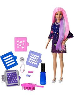Barbie Color Surprise doll is ready to make a bold statement with hair that transforms in an instant! Change the color of Barbie doll's hair from pretty. Mattel Barbie, Purple Streaks, Purple Hair, Pretty Pastel, Pastel Pink, Pastel Shades, Pink Blue, Hair Stenciling, Beards