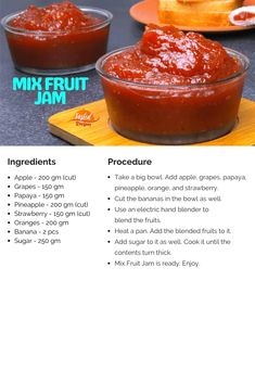 Mix Fruit Jam - Homemade Mixed Fruit Jam Recipe | Tasted Recipes Mixed Fruit Jam Recipe, Hand Blender, Food Tasting, Big Bowl, Jam Recipes, Recipe Cards, Pineapple, Strawberry