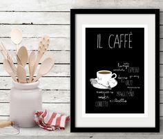 Il Caffè - Typographic poster - kitchen art italian coffee food  - Italy kitchen art on Etsy, $26.00