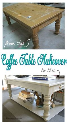 Coffee Table Makeover with added lower shelf.