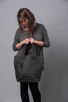 Ash Black Leather Tote Bag / Office Bag / Soft Leather Bag / Women Purse / Sac Bag / Lined Bag / Shoulder Bag / Big Handbag - Merav