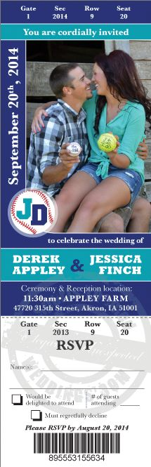 Wedding Ticket Save the Dates made from your photos ... printed on magnets or card stock.  #baseballwedding #stwdotcom