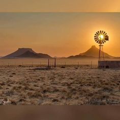Photo by Rob Southey Photography. Climax Windmill in full sun, captured one winters morning in the Great Karoo, a thin layer of cloud diffuses the warm light after sunrise. Farm Windmill, Old Windmills, Out Of Africa, Thing 1, Le Moulin, Mellow Yellow, Countries Of The World, Farm Life, Beautiful Landscapes