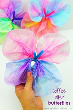 Simple and fun coffee filter butterfly craft for kids to try at home or school. This step by step guide will help you learn how to make coffee filter butterflies. #coffeefilter #coffeefiltercrafts #coffeefilterbutterflies #coffeefilterbutterflycrafts #pipecleaners #finemotor #finemotorskills #craftideasforkids #kbn #simplecraftideas #simplecraft #butterflies #butterflies #papercraft #waterpaints #waterpaintingwithkids #makeabutterfly #butterflycrafts #butterflycraftideas #rainforestcraft Craft Projects For Kids, Diy Crafts For Kids, Easy Crafts, Art For Kids, Craft Ideas, Play Ideas, How To Make Butterfly, Butterfly Crafts, Flower Crafts
