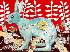 Flower Rabbit Print of an original painting 8 x 10 by irinashop, $19.00