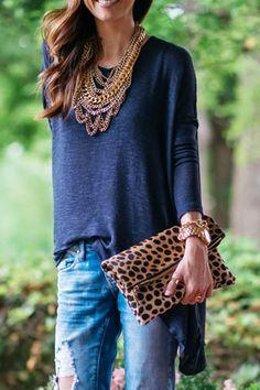 Long Sleeve Open Back Blue T-Shirt