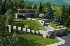 House & garden on a steep terrain by Antoaneta Yordanova, via Behance Garden Design Software, Garden Design Plans, Home Garden Design, Small Garden Design, House Design, Landscaping A Slope, Modern Landscaping, Landscape Elements, Landscape Architecture