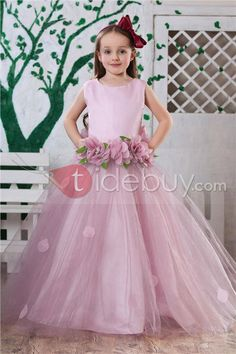 Attractive Ball Gown Ankle-length Round-neck Flowers Embellishing Flower Girl Dress : Tidebuy.com