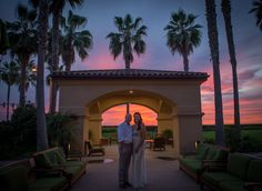 """A sunset backdrop at our Gazebo is the perfect spot for a moment alone together after you say """"I Do"""".  Photo Credit: Nicole Hershman Daniels Photography  #sunset #sandiegosunset #carlsbadsunset #carlsbad #sandiego #sandiegowedding #carlsbadwedding #hgicarlsbad #oceanview #beachwedding"""