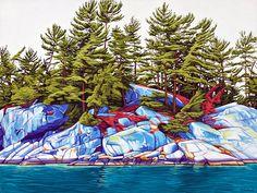 Island Fraser Bay ~ by Margarethe Vanderpas, Canada Canadian Painters, Canadian Artists, Landscape Art, Landscape Paintings, Landscapes, Nature Artists, Polychromos, Sculpture, Artist Art