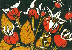 Christmas Rosehips. Reduction linocut.