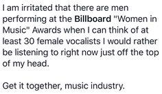 #Billboard #WomenInMusic #Awards #Bullshit