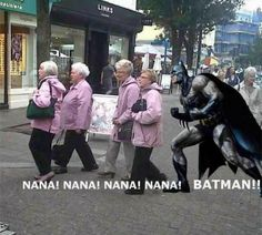 Funny pictures about Batman and the old ladies. Oh, and cool pics about Batman and the old ladies. Also, Batman and the old ladies. Funny Shit, Haha Funny, Funny Jokes, Funny Stuff, Funny Things, That's Hilarious, Stupid Stuff, Sarcastic Humor, Sarcasm