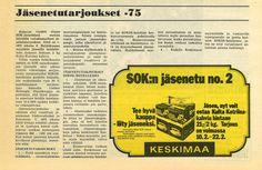 Keskimaan jäsenetutarjouksena Kulta Katriina-kahvia 21 mk/2 kg. Tarjous Keskimaa-lehdestä vuodelta 1975.