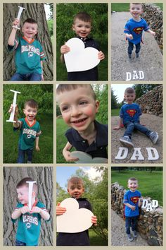 SNEAK PEEK!  I can't even stand how cute this is! A Father's Day gift for his Daddy. I heart dad! Photo letter collage with his favorite team and superman! Shh! Don't tell him.