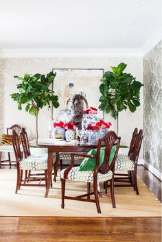 Bright dining space with wallpaper and indoor plants