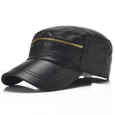 Men s Sheep skin Snapback Metal Zipper Flat Top Outdoor Caps - wearGG Flat  Cap 32cc83add0be