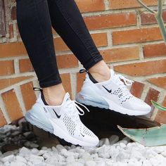 3fa1d326a Nike Air Max 270 shoes in white and grey with stylish black jeans.  Sneakers