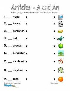 Articles A and An ESL Worksheet – Printable English Fill in the Blanks Activity English Grammar For Kids, Learning English For Kids, English Lessons For Kids, Kids English, English Vocabulary Words, Learn English, English Worksheets For Kindergarten, English Worksheets For Kids, 2nd Grade Worksheets