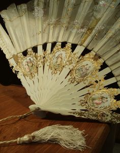 18th Century Ladies Hand Fan With European Painted Scenes