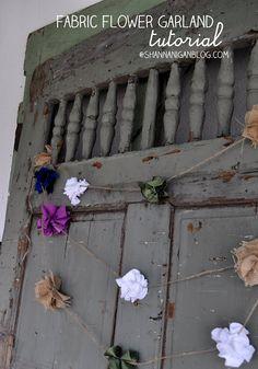 Shannanigans: Always Crafty: Fabric Flower Garland Tutorial Rustic Flowers, Diy Flowers, Fabric Flowers, Crafts To Do, Arts And Crafts, Diy Crafts, Rustic Fabric, Bunting Garland, Fabric Garland