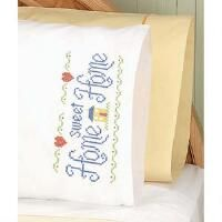 Herrschners®  Home Sweet Home Pillowcase Pair Stamped Cross-Stitch