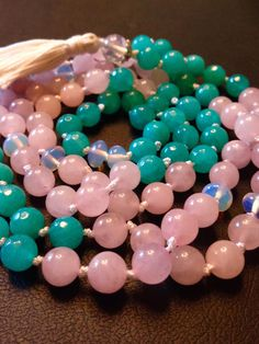Items similar to Rose quartz, agate & opalite mala on Etsy Rose Quartz, Agate, Roots, My Etsy Shop, Beaded Bracelets, Gemstones, Stars, Handmade, Stuff To Buy