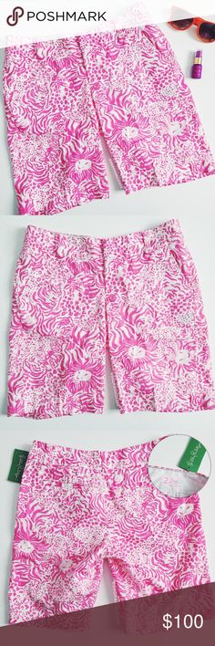 "| LILLY PULITZER The Chipper Bermuda Short lilly pulitzer the chipper bermuda short  cute bermuda shorts are necessities when pulling together a cute golf outfit. throw on with a polo and golf shoes and you're good to go for a few holes followed by a lunch and cocktails with your friends!  ⠀† size: 2  ⠀† color/print: resort white get spotted small ⠀† 10"" inseam ⠀† hook and bar closure ⠀† 100% cotton ⠀† new with tags   shipping ⠀currently out of town. orders placed between  ⠀july 6 - july 10…"