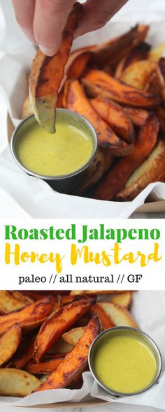 Take up your typical salads, veggies, and dipping needswith this kicked up Roasted Jalapeño Honey Mustard made from wholesome ingredients - Eat the Gains