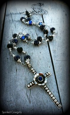 This Beautiful Yet Trendy Rosary Style Necklace Is Beaded With Grade AAA Blue Lapis/Caribbean Blue AB Crystal Rondelles/Jet Black