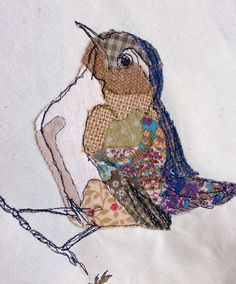Multi coloured bird some fiddly appliqué!