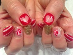 My Holiday Nails! Hand painted peppermint candies, candy canes and clear hearts. Mei@valleyNYC