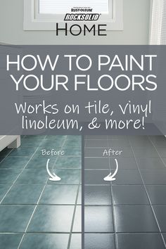 Transform your bathroom in a day by painting your floor! Give your bathroom floor new life with this easy and inexpensive DIY floor painting project. Works on tile, linoleum, laminate, and more! No sanding or priming is required! Home Improvement Grants, Home Improvement Projects, Home Projects, Painting Tile Floors, Painted Floors, Paint Floor Tiles, Painting Over Tiles, Painting Ceramic Tile Floor, Painting Bathroom Tiles