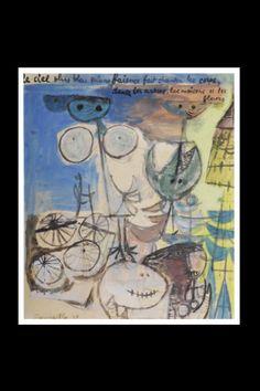 """Corneille - """"Le ciel plus bleu..."""", 1949 - Watercolour, gouache, wax crayon, graphite and collage on paper - 44 x 38 cm (*)"""