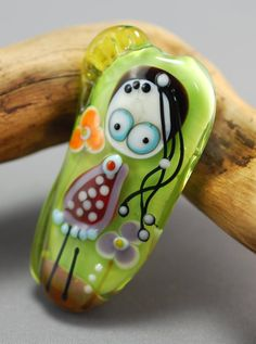 LITTLE MISS glass focal bead lime green by jperaladesigns on Etsy, $40.00