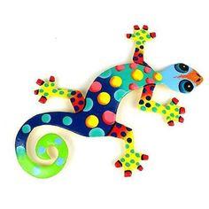 Eight Inch Metal Gecko Florida Design - Caribbean Craft
