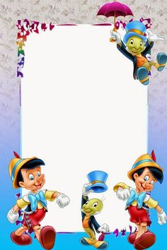 "Cricket"" from ""Pinocchio"" Pinocchio, Birthday Frames, Birthday Cards, Scrapbook Da Disney, Disney Frames, Foto Frame, Boarder Designs, Boarders And Frames, School Frame"