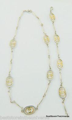 Vintage 18k Gold~Sterling Silver GUCCI LOGO Matching Necklace~Bracelet Set