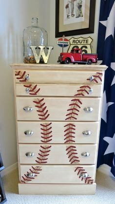 Baseball nursery baseball dresser   Baby boy   Pinterest ...