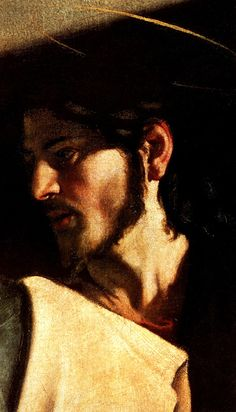 1599 1600 Le Caravage Vocation de Saint Mathieu, Détail, le visage du Christ.