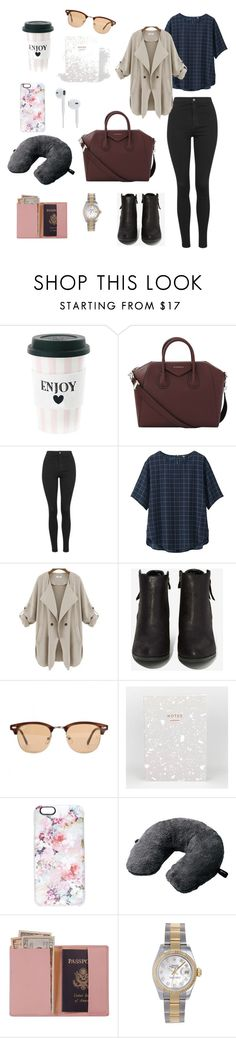 """""""Eleanor Calder inspired travel outfit"""" by enk98 on Polyvore featuring Givenchy, Topshop, Uniqlo, N.Y.L.A., Ray-Ban, Casetify, Go Travel, Royce Leather and Rolex"""