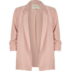 River Island Light pink stripe ruched sleeve blazer (2,405 MXN) ❤ liked on Polyvore featuring outerwear, jackets, blazers, coats / jackets, pink, women, stripe jacket, stripe blazer, light pink jacket and tall jackets