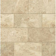 """Bedrosians Polished 3"""" x 6"""" Marble Mosaic Tile in Cappuccino"""